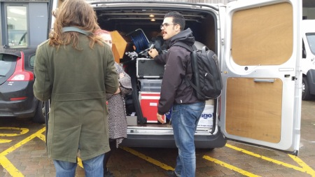 Van full of photography and film equipment along with Makeup artist's equipment, props for the events,